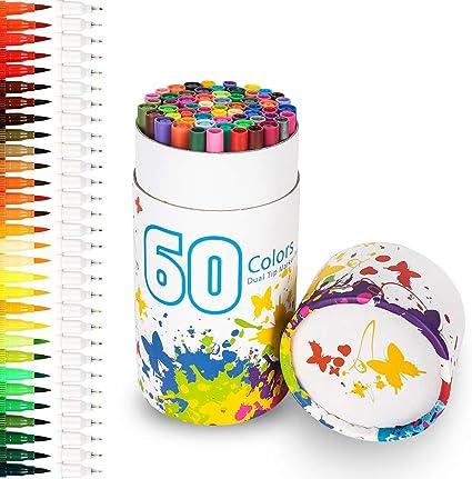Rotuladores 60 colores, Chuangmeida lápices de acuarela, pinceles de arte, lápices de colores, rotuladores, punta doble para dibujar comics de manga, pintura, escritura, libros para colorear: Amazon.es: Oficina y papelería