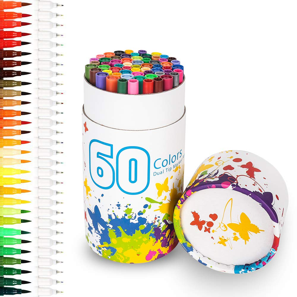Rotuladores 60 colores lápices de acuarela, punta doble
