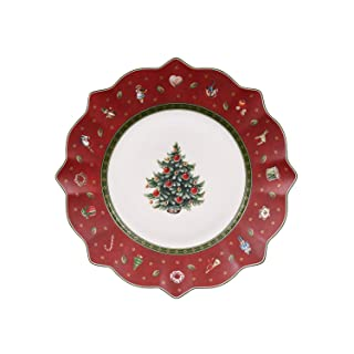 Villeroy & Boch 14-8585-2640 Plato de Desayuno Toy's Delight, para Navidad, 24 cm, Porcelana, Rojo, 24.5x24.5x9.0 cm