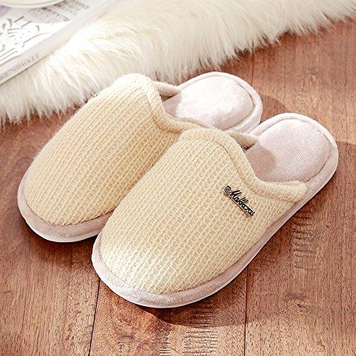 DogHaccd Zapatillas,Zapatillas de algodón grueso estancia femenina interior de invierno suave antideslizante, zapatos zapatillas de felpa lana precioso macho Brown3