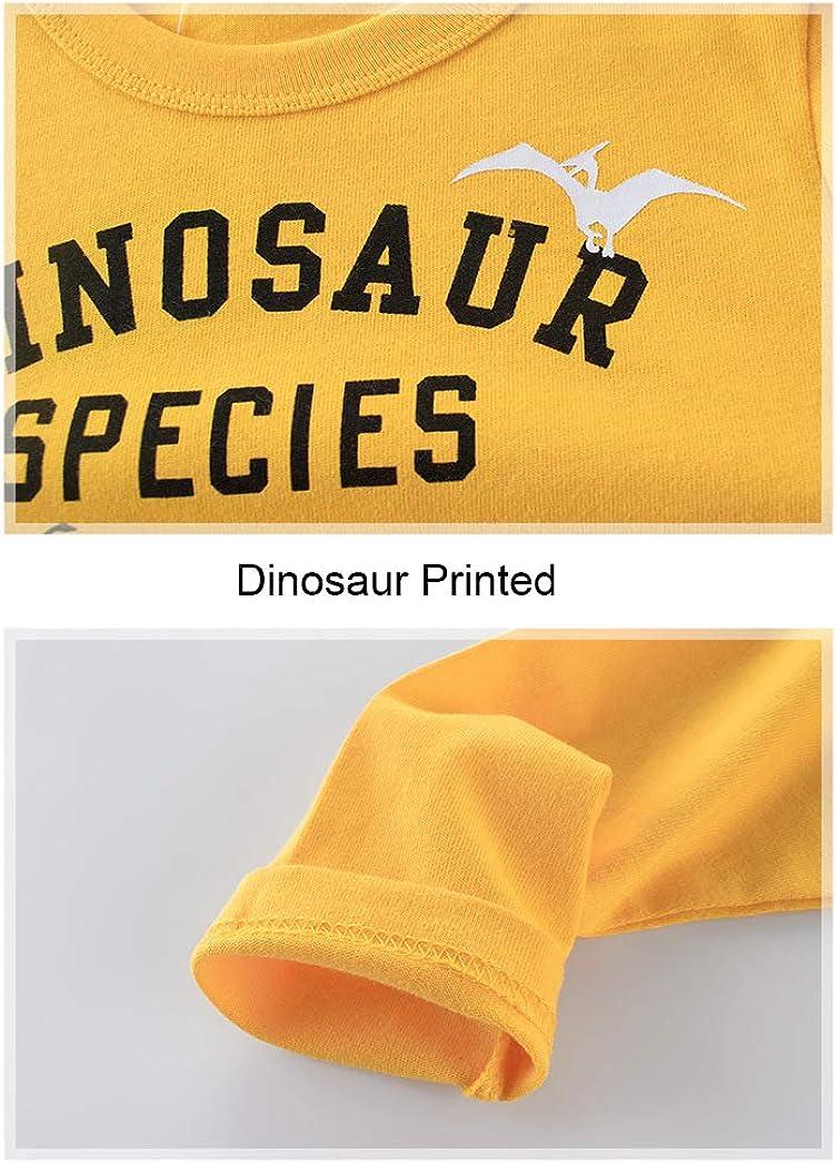 PoonStyling Boys Kids Long Sleeve Cotton T-Shirts Dinosaur Cartoon Tops