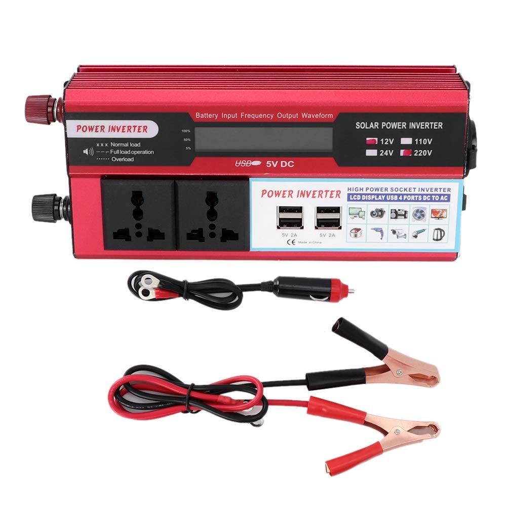 autom/óvil 5000W Inversor de energ/ía solar Pantalla digital Tel/éfono 4 Cargador USB Inversor de corriente CC 12V a CA 220V-240V Convertidor de fuente de alimentaci/ón automotr Inversor de energ/ía solar