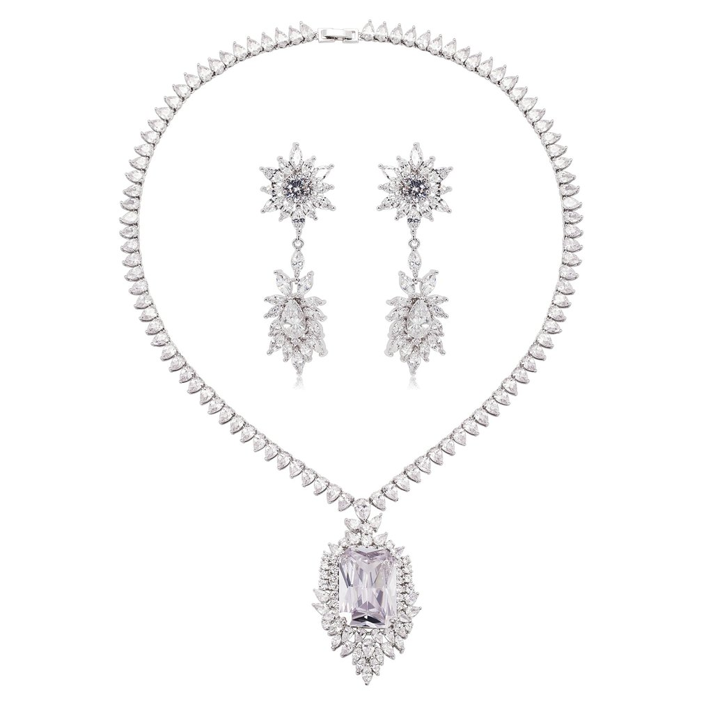 AliMab Women's Silver Plated Water Drop with Square CZ Stud Earrings Pendant Necklace Silver Jewelry Set by Alimab
