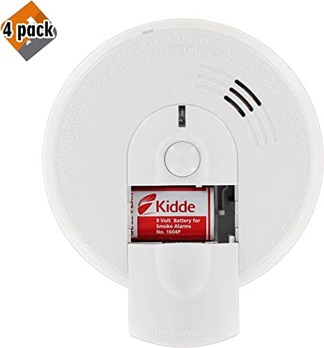 Kidde Firex Hardwire Smoke Detector with 9V Battery Backup and Front Load Battery Door Model I4618AC, 4 Pack
