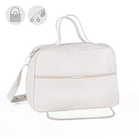 Pasito a Pasito - Bolsa canastilla o bolso para silla de paseo Laforet en polipiel beige estmpada con topitos