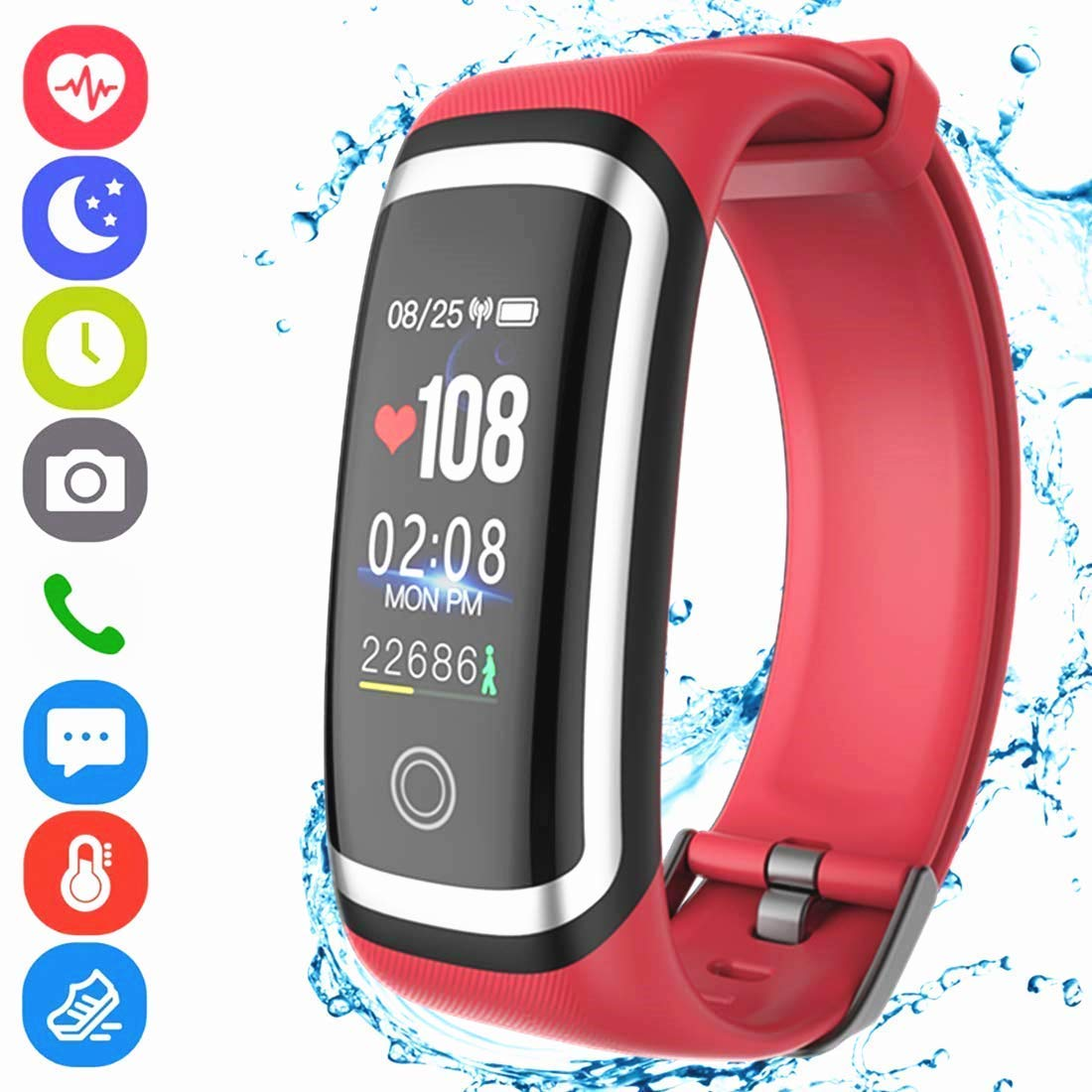 Fitness Tracker HR, Activity Tracker Smart Wristband with Pedometer Heart Rate Blood Pressure Monitor Sleep Monitor IP67 Waterproof Call SMS SNS Alert for Men Women Kids Compatible for Android IPhone Hocent