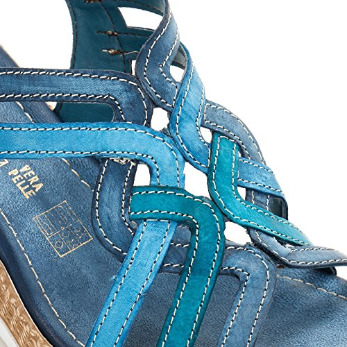 ALESYA by Scarpe&Scarpe - Plataformas cruzadas, de Piel Azul