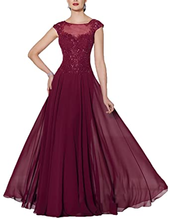 Ankang Womens Cap Sleeve Chiffon Mother of the Bride Dress Lace Formal Prom Gown Burgundy US2