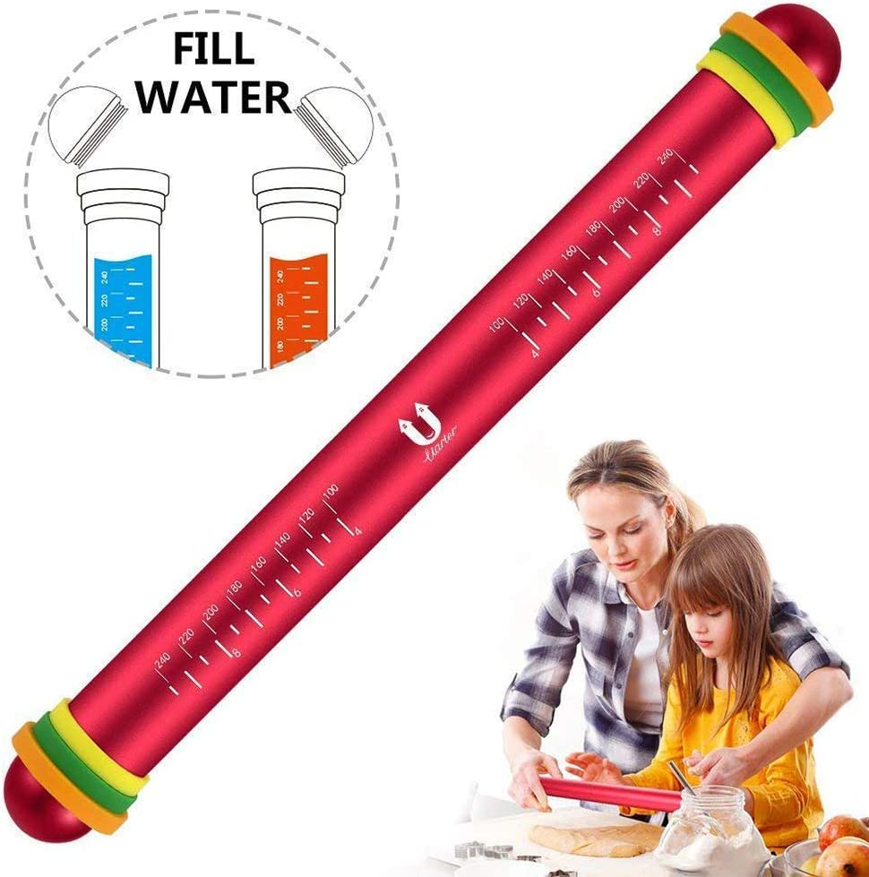 FRFJY Adjustable Rolling Pin Aluminum Alloy Rolling Pins Non-Stick Dough Roller with Measurement Marking and Removable Silicone Thickness Rings