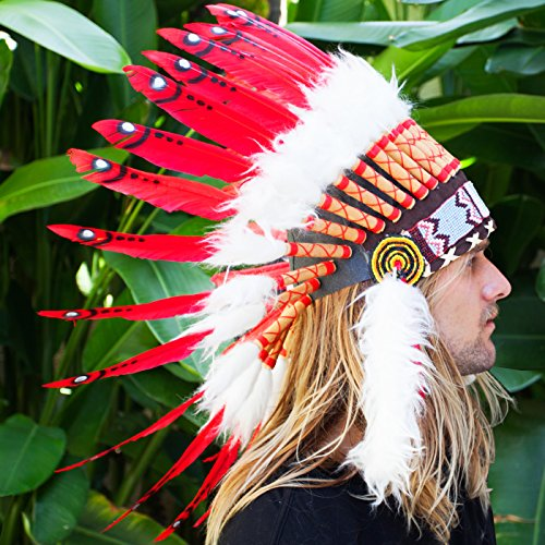 [Feather Headdress- Native American Indian Inspired- Handmade by Artisan Halloween Costume for Men Women with Real Feathers - Red] (Red Indian Princess Costume)
