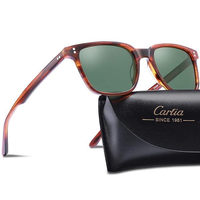 4624bc3b4 Carfia Polarizadas Gafas de Sol Hombre Mujer UV400 Protección Acetato Marco  Conducción Glasses: Amazon.