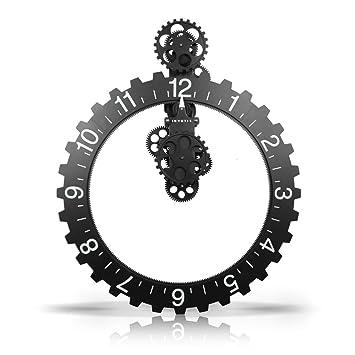 Amazon De Invotis Coole Wanduhr Big Hour Wheel Clock In Schwarz