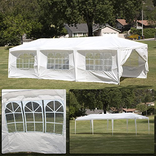 10 X 20 Pop (Belleze 10' x 30' Canopy Party Event Wedding Outdoor Tent Gazebo w/ (8) Removable Side-Wall, White)