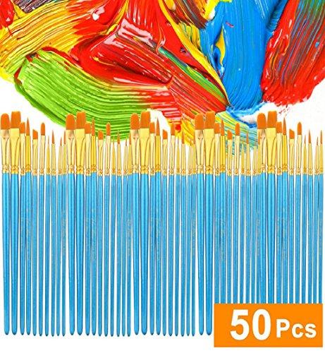 DEESEE(TM) NewAcrylic Paint Brush Set 5 Packs/50 Pcs Nylon Hair Brushes For All Purpose Oil Paint Brush (Sterling Silver Skull Coin Set)