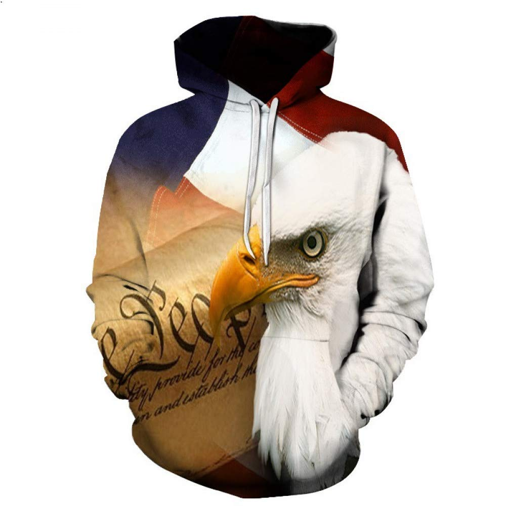 WEIYI066 Small 3D Hoody Coat Outwear Blouse Fashion Coat Winter Jacket with hat Eagle Print Hoodie