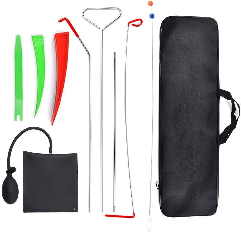 Full Professional Automotive Car Tool Kit with Easy Entry Long Reach Grabber Non Marring Wedge and PVC Bag for Cars Truck Air Wedge