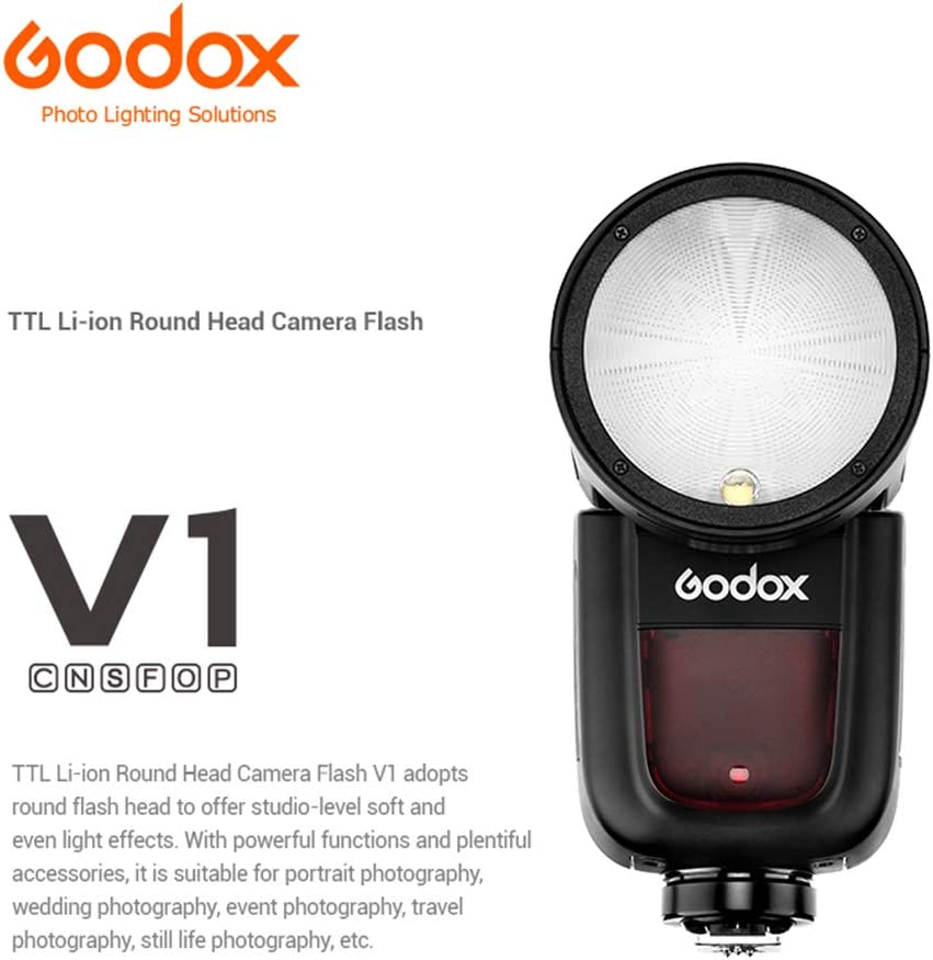 Recycle Time HSS 1//8000s 1.5 sec Godox V1-S 76Ws 2.4G TTL Round Head Camera Flash Speedlite 2600mAh Lithium Battery for Sony A7 A7R A7S A7II A7III A7RIII A99 A6000 A6300 A6400