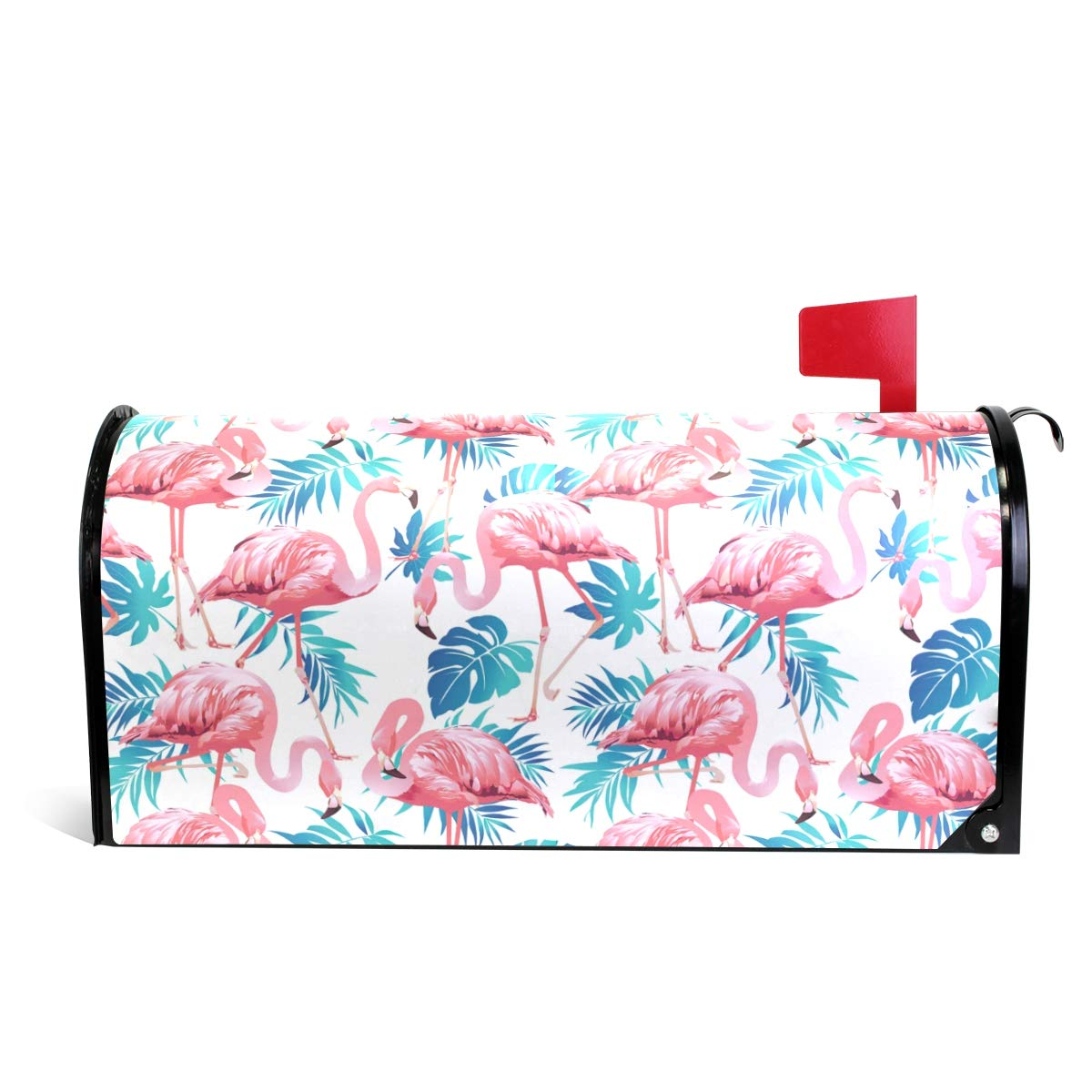 Fengye Pink Flamingo Palm Summer Mailbox Magnetic Cover Medium Large Capacity Post Box Covers