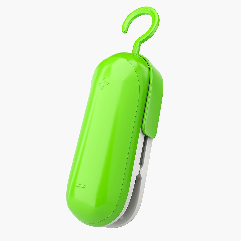 Portable Sealing Machine, 2 in 1 Mini Heat Sealer, Handheld Seal Cutter for Food Plastic Bags Storage Snack Fresh with Hook, Mini Bag Resealer & Cutter Bags - Food & Packaging (Green)