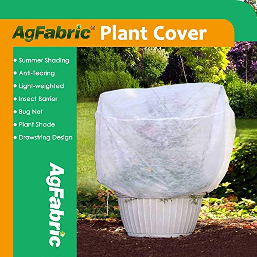 Agfabric Row Cover Plant Shade Protection Bags, 0.55oz Fabric of H40''xDia60'' Plant Cover for Bug/Insect Barrier, White -