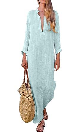 63bc39a50a5 ASSKDAN Women Dress Cotton Linen Long Maxi Dress Evening Party Shirt Dress  3 4 Sleeve V-Neck Loose Kaftan Plus Size Dress (Blue