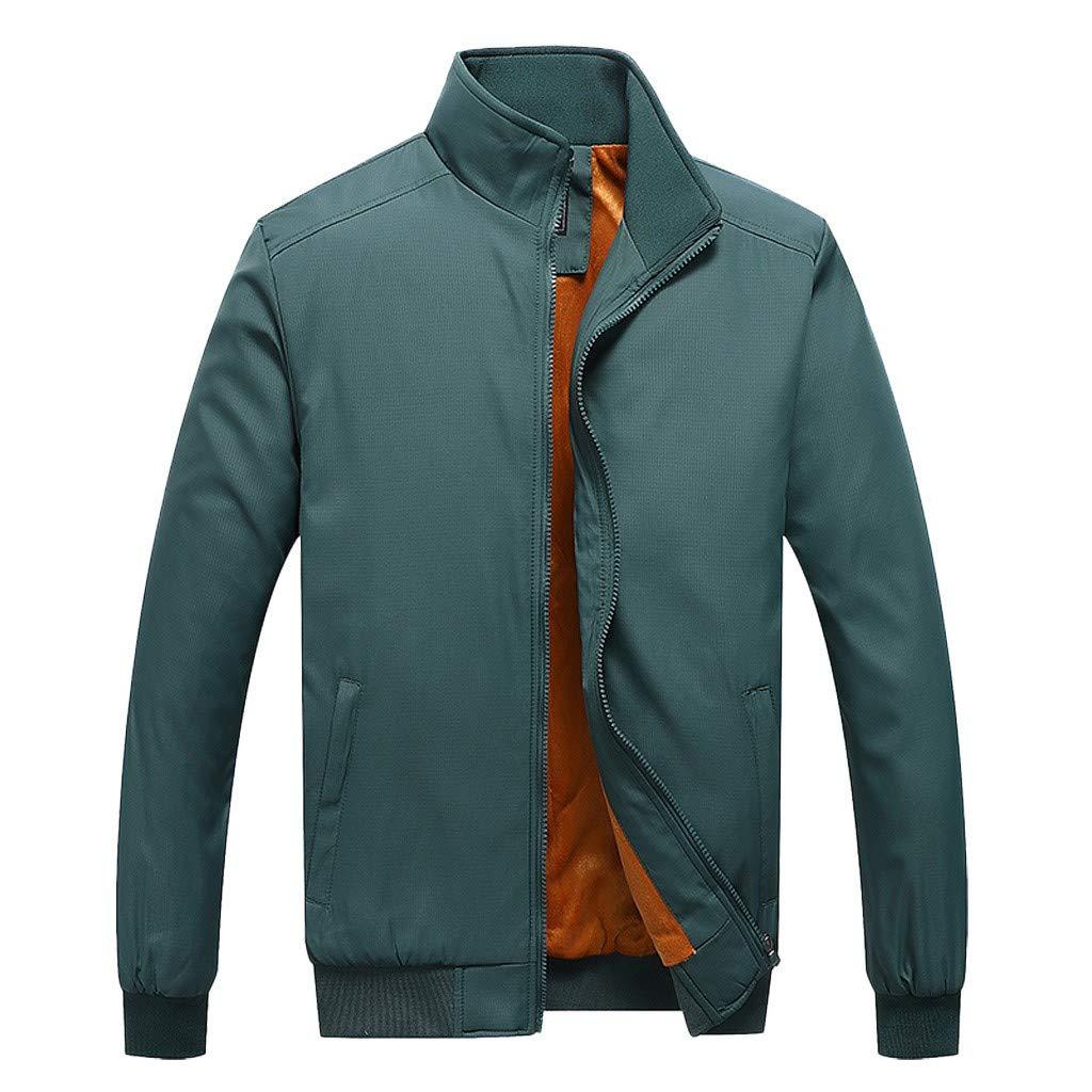 Men Cargo Jackets Casual Windbreaker with Warm Fleece Lining Winter Outwear Male Coat M-4XL (XXL, Green) by Ruichao Men Tops