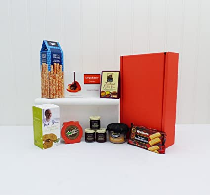 Surprise Nibbles In A Red Gift Box Food Hamper