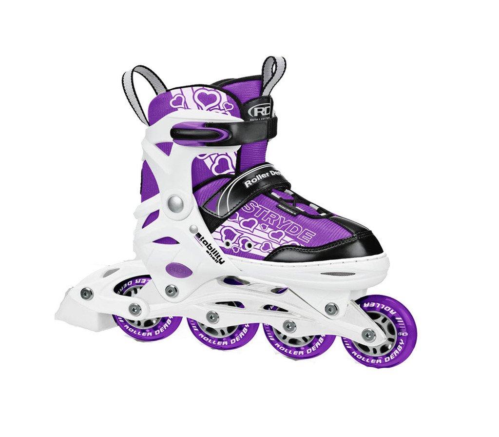 Girls White and Purple Stryde Children Adjustable Inline Skates