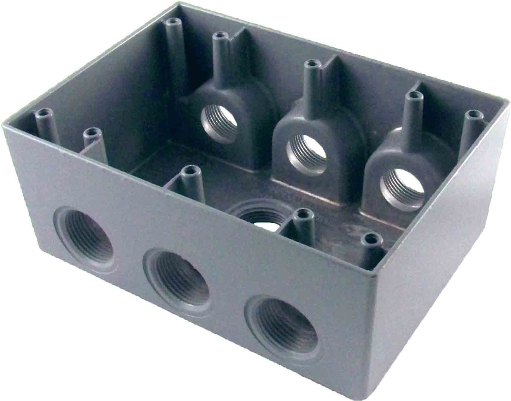 Made in USA Weatherproof Electrical Outlet Box (7) 3/4'' Holes - Gray