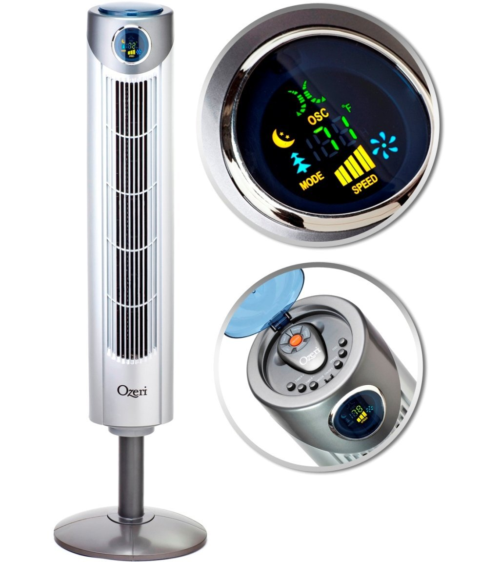 Ozeri OZF1 Ultra 42 inch Wind Fan - Adjustable Oscillating Tower Fan with Noise Reduction Technology