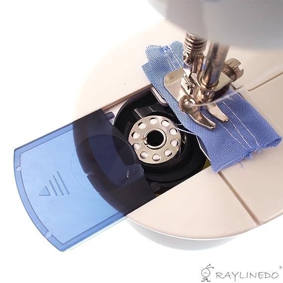 RayLineDo® - Pequeña máquina de coser eléctrica y portátil de 2 velocidades + 6 x bobinas + pedal de pie + aguja y enhebrador + adaptador de alimentación ...