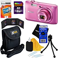 Nikon COOLPIX S3600 20.1 MP Digital Camera with 8x Zoom NIKKOR Lens and 720p HD Video - Pink - International Version (No Warranty) + 7pc Bundle 8GB Accessory Kit w/ HeroFiber Ultra Gentle Cleaning Cloth Overview Review Image