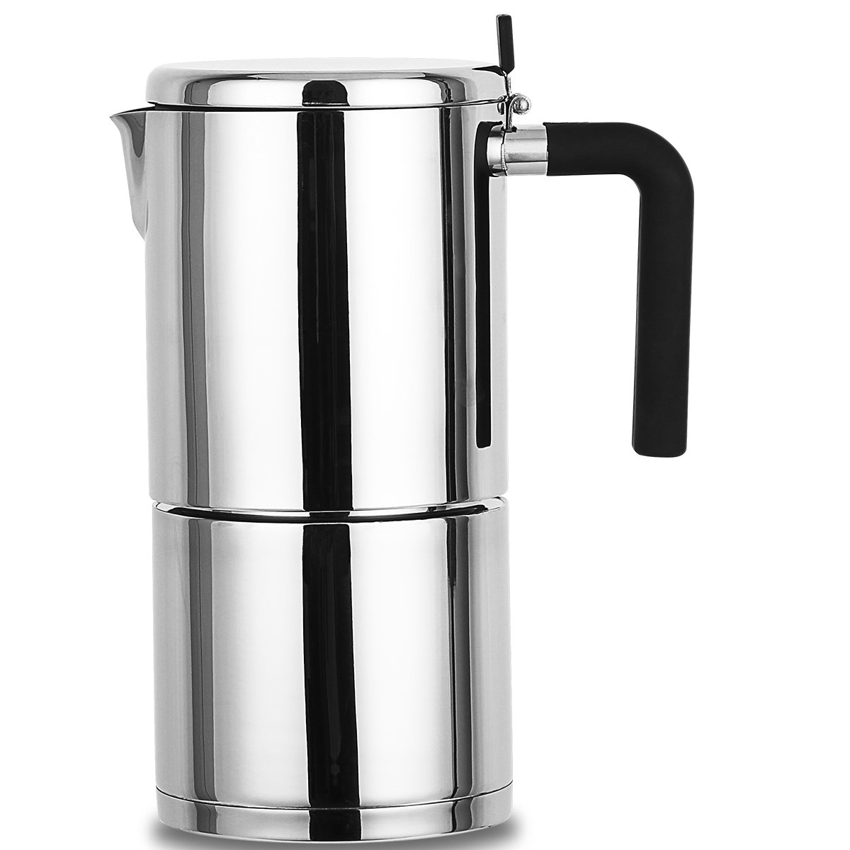 Stovetop Espresso Maker Stainless Steel 10 Cup XIHAO Silver Italian Moka Coffee Pot by XIHAO
