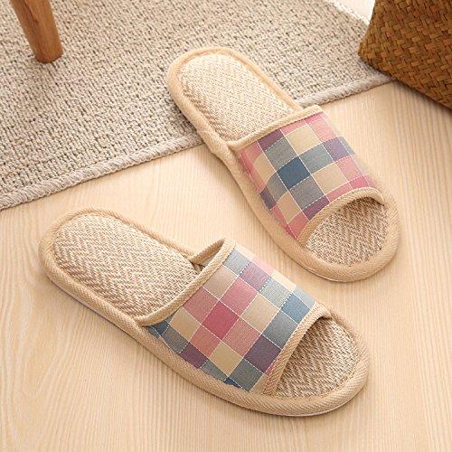 Molla fankou grid home calzature cotone pavimento giovane uomini e donne primavera e autunno home pantofole ,37-38, il vino rosso