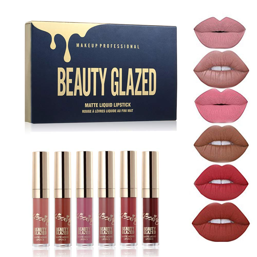 BEAUTY GLAZED 6pcs/Set Liquid Lip Gloss Professional Lip Makeup Tool Velvet Matte Moisturizing Hydrating Nutritious Lipstick Kit