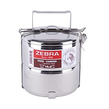 Zebra brand, Stainless steel food carrier 14cm x 2 tier premium quality