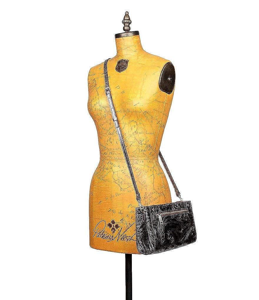 Patricia Nash Womens Leather Turati Convertible Crossbody Shoulder Bag Metallic
