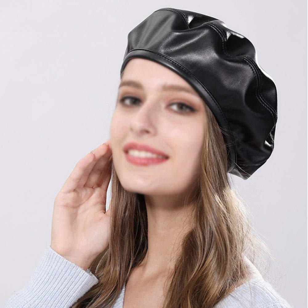 ISABELLE B/éret Bonnet Calotte Femme Cuir PU Chapeau d/'Automne Hiver Noble Distingu/é Gr/âcieux