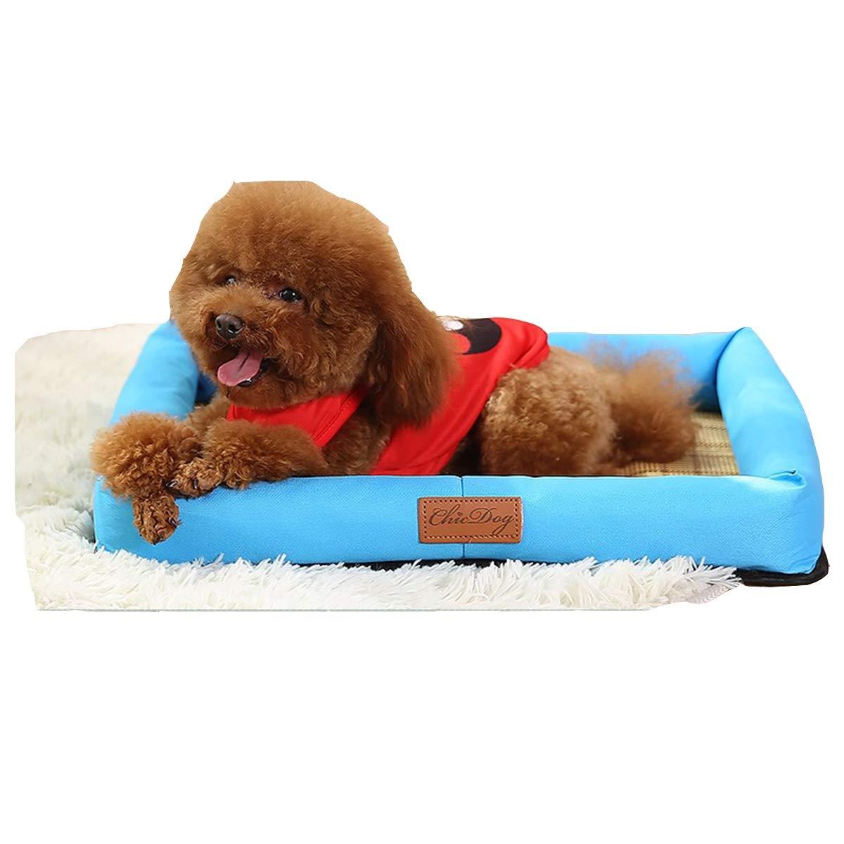 bluee S bluee S Kennel Summer Cool Nest, Small Dog Kennel, Summer Cool Mat Bed, Medium Dog, Pet Cat Litter, bluee Bamboo Charcoal Mat Pet Nest (color   bluee, Size   S)