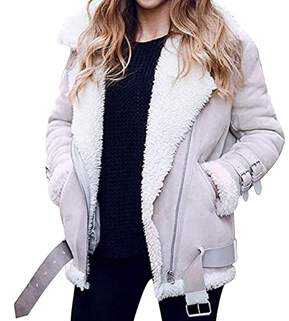 Cropped Jackets for Women Jacket/Coat Suede Fleece Lined Biker Style Lapel Thick Belted Zipper Plus Size Faux Fur Aviator Trench Coat Outwear Vintage Fuzzy Motor Cardigan Overcoat