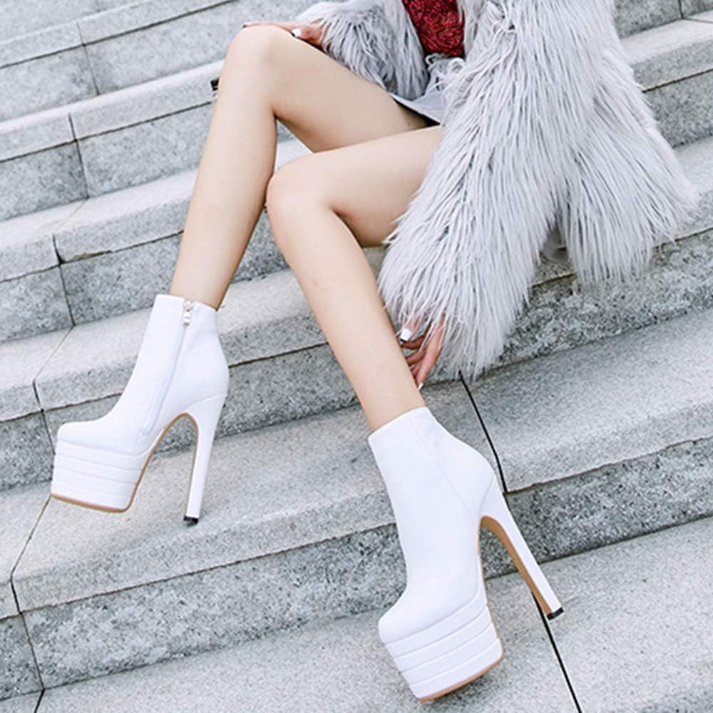 Hoge hakken Schoenen Dames Mode Comfortabele Ademende Herfst Winter Leer Korte Buis Laarzen Casual Vintage Party Martin Laarzen wit