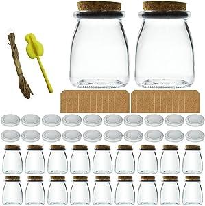 YEBODA 20 Pcs 7oz Glass Pudding Bottles with Cork Lids,Yogurt Container ,Favor Jars for Honey,Jams,Milk,Mousse,Candle Making,Wedding Favors,Shower Favors,Baby Food.Dessert.