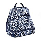Fit & Fresh Kiera Small Backpack, Lunch Bag for Women / Girls, Insulated Daypack for Travel, Hiking, Commuting, Blue Modern Quilt