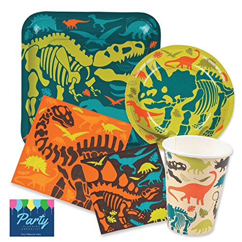 Dinosaur Birthday Party Supplies Pack for 16 people Includes: Large 9 Square Plates, dessert plates, lunch and beverage napkins and paper cups (Party Supplies Birthday Dino)