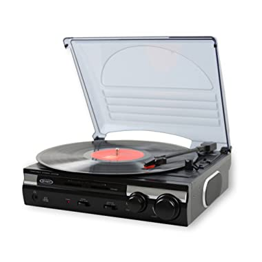Jensen JTA-230 3 Speed Stereo Turntable with Built in Speakers, Aux in, Vinyl to MP3 Converting/Encoding