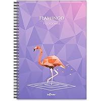 Lé Color 2018044/2 Polygonal Esnek Karton Kapak, Siyah Spiralli Renkli Kenar Boyama Kareli Flamingo