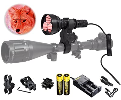 Orion M30C 377 Yards 700 Lumen Red or Green Long Range LED Hog Predator Varmint Hunting Light Flashlight Kit - Scope Barrel Rail Rifle Mounts, Pressure Switch, Rechargeable Batteries and Charger