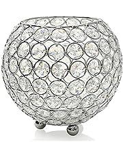 VINCIGANT Portavelas Jarrones Cristal Tealight Metal Plateado.Candelabros Decorativos Ideal para Bodas, Fiestas, Hogar, Novias, Decoración Decoración navideña