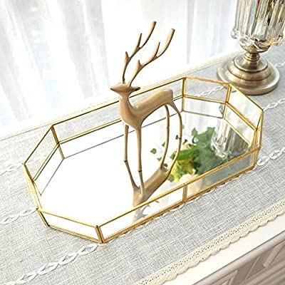 18.75'' Large Decorative Tray ,Vintage Glass Jewelry Tray with Mirrored Bottom Vanity Organizer for Accent Table,Gold Leaf Finish - Unique Style: our vanity gold tray made of polished metal and finished with an elegant mirrored glass surface, which ensures sturdy than plastic, also the sides of our tray are designed with geometric-shaped, that shows off your jewelry from all angles. Mirrored Vanity Tray: compared with traditional jewelry tray, our dressing table tray offers a stylish way to store your jewelry, while putting it on display, perfect for storing rings, earrings and bracelets etc. Space Saving: designed in right size, it 's large enough to store your desk accessories while does not take much room and can keep kinds of desk supplies handy and neatly organized, an effective life helper specially designed for you - living-room-decor, living-room, home-decor - 615x6rQEEjL. SS400  -