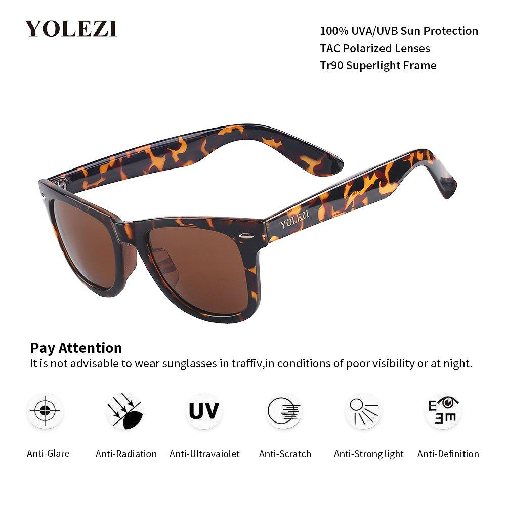 7d3c1b259e5b Amazon.com: YOLEZI Polarized Retro 80s Sunglasses for Men Women with UV  Protection (Leopard & Brown, 43): Clothing